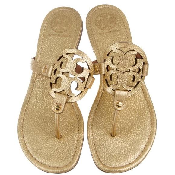 fa6f6149a91ab Tory Burch Gold Miller Sandal Flip Flops Shoes 8.5.  M 5b6c761eb6a94204b954c623